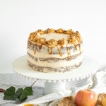Apple Cardamom Cake with Caramel Pecan Butter Frosting