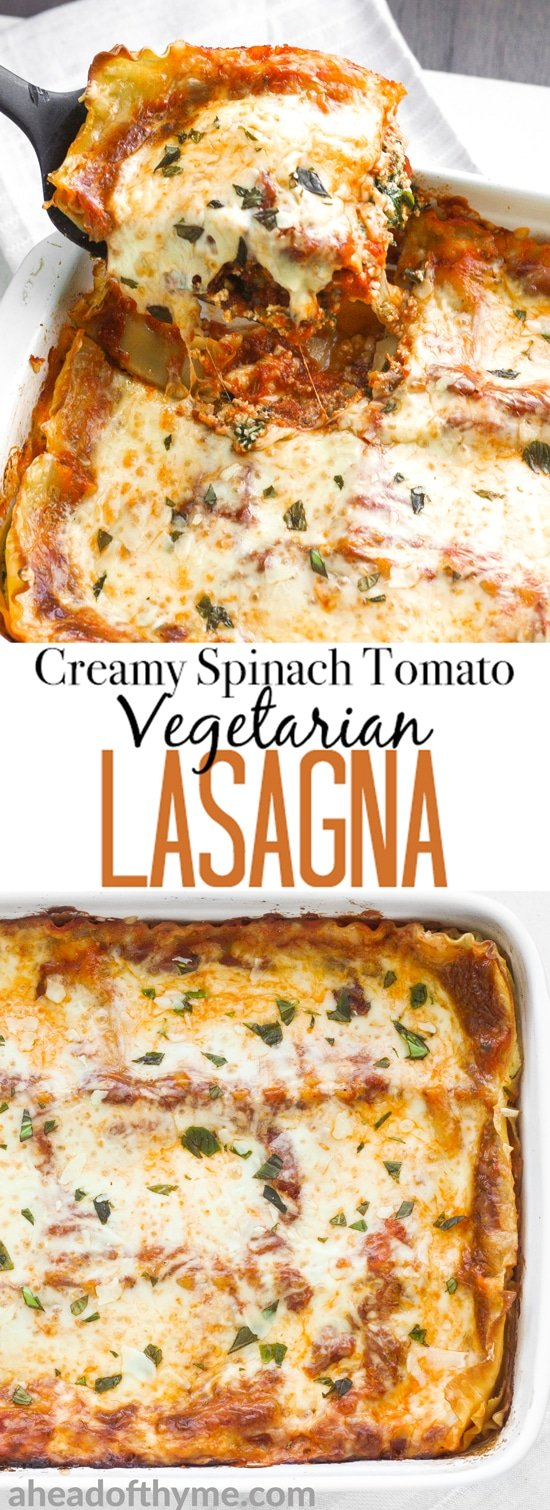 Creamy Spinach and Tomato Vegetarian Lasagna