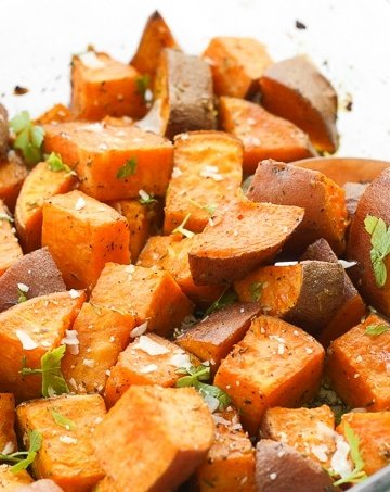 Crispy on the outside and soft and tender on the inside, these flavourful, herb-roasted sweet potatoes are the perfect addition to your holiday table.   aheadofthyme.com