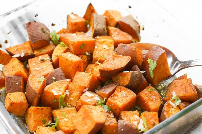 Herb Roasted Sweet Potatoes Ahead Of Thyme
