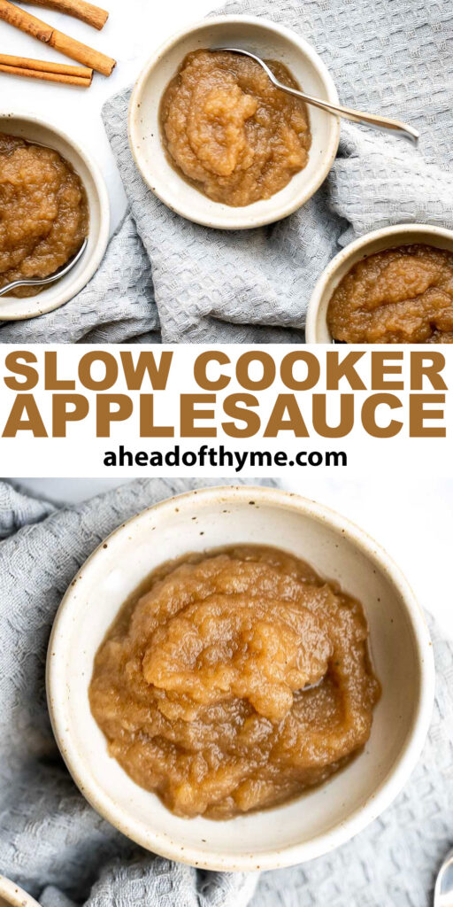 Slow cooker applesauce is delicious, healthy, kid-friendly, packed with warm and cozy fall flavors, and easy to make with just 10 minutes prep. | aheadofthyme.com