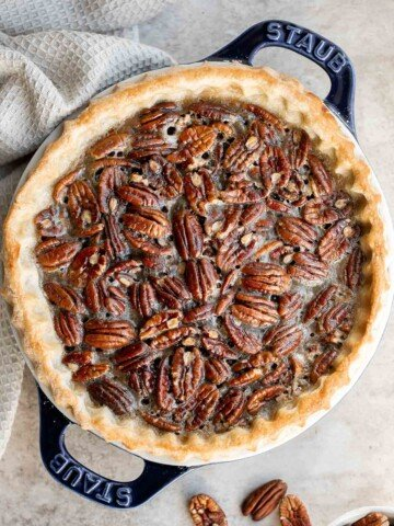 Old-fashioned pecan pie is a classic fall dessert with a homemade pie crust and sweet custard filling loaded with crunchy pecans — perfect for Thanksgiving.   aheadofthyme.com