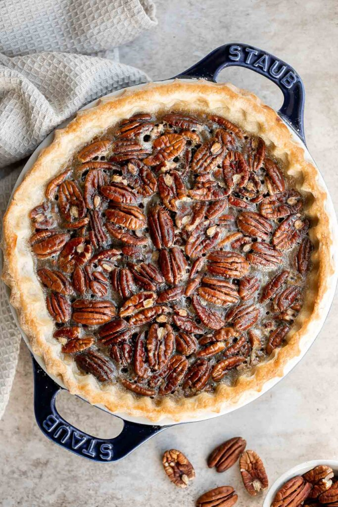 Old-fashioned pecan pie is a classic fall dessert with a homemade pie crust and sweet custard filling loaded with crunchy pecans — perfect for Thanksgiving. | aheadofthyme.com