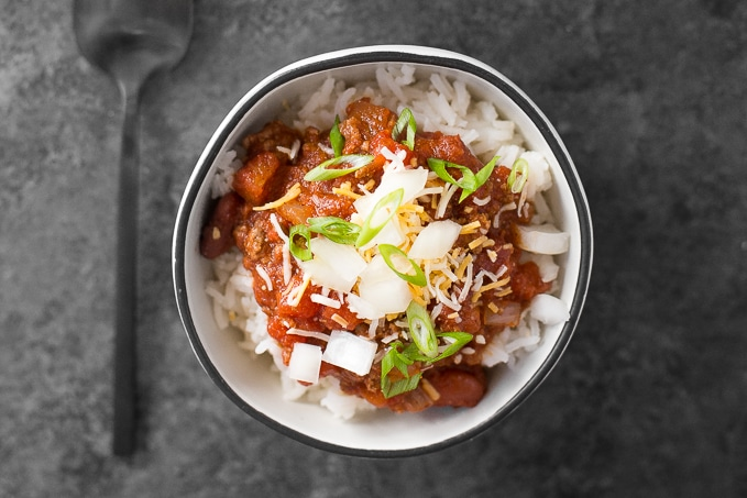 Hearty and full of flavour, easy one pot chili requires only 10 minutes of prep time making it the perfect busy weeknight meal!   aheadofthyme.com