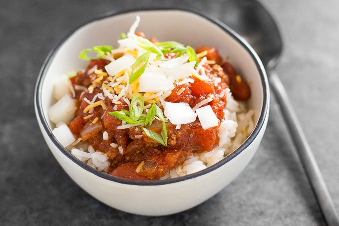 Hearty and full of flavour, easy one pot chili requires only 10 minutes of prep time making it the perfect busy weeknight meal! | aheadofthyme.com