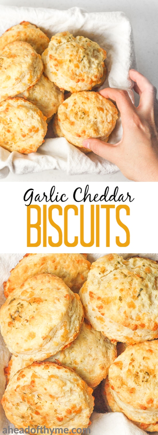 Garlic cheddar biscuits qualify as breakfast or a dinner side dish. These are packed with flavour and can be prepped for the oven in less than 20 minutes! | aheadofthyme.com