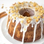 This glazed gingerbread bundt cake with nut topping is festive, easy to make, and perfect for the holidays or anytime of year! | aheadofthyme.com