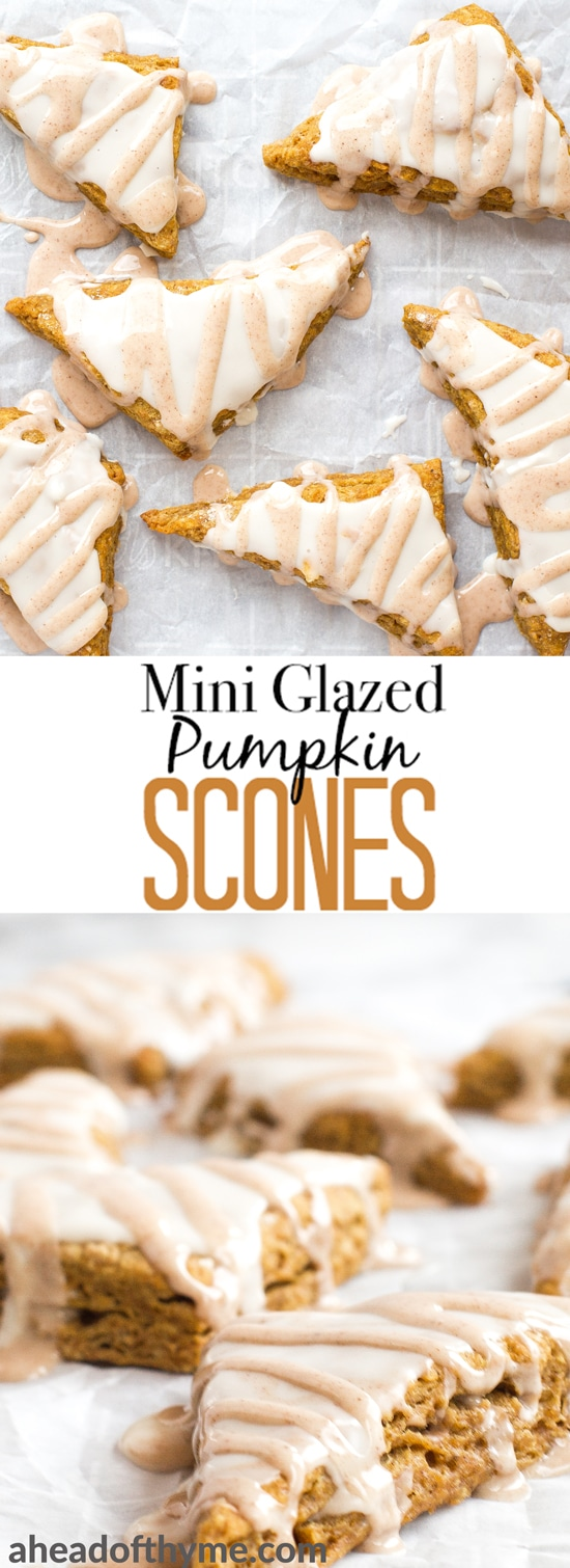 Starbucks inspired mini glazed pumpkin scones are the perfect little fall treat and since they're small, you can enjoy more than one without feeling guilty! | aheadofthyme.com