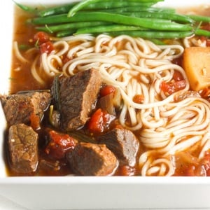 It's soup and slow cooker season! Add some noodles to your beef stew and transform it into the most amazing, flavourful slow cooker beef stew ramen. | aheadofthyme.com