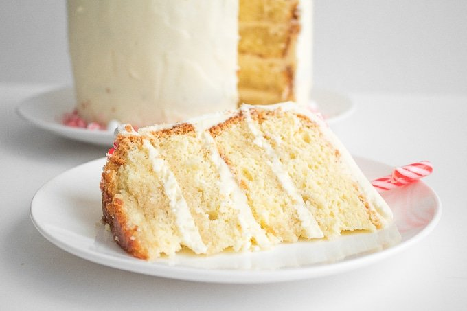 Looking for a showstopper at your next holiday party? Incorporate the minty taste of candy canes into this gorgeous, festive candy cane layered cake! | aheadofthyme.com
