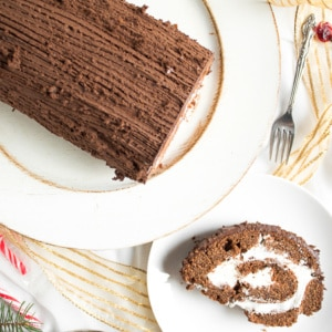 Amaze your family and friends this holiday season with this gorgeous and delicious chocolate holiday yule log cake. It looks and tastes like a dream! | aheadofthyme.com