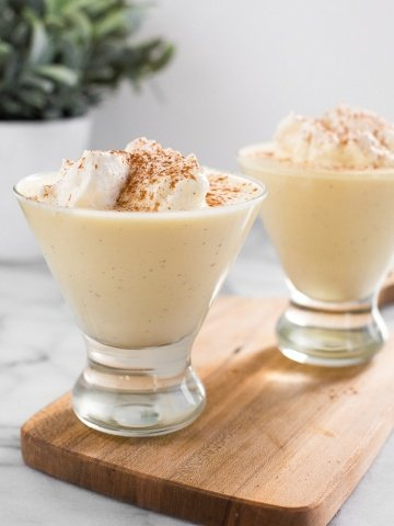 Take one sip of this non-alcoholic homemade eggnog and you'll never look back at store-bought versions! It's creamy, thick and smooth!   aheadofthyme.com