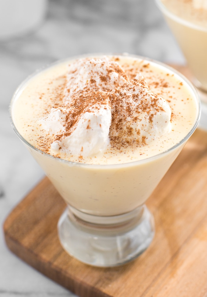 Take one sip of this non-alcoholic homemade eggnog and you'll never look back at store-bought versions! It's creamy, thick and smooth! | aheadofthyme.com