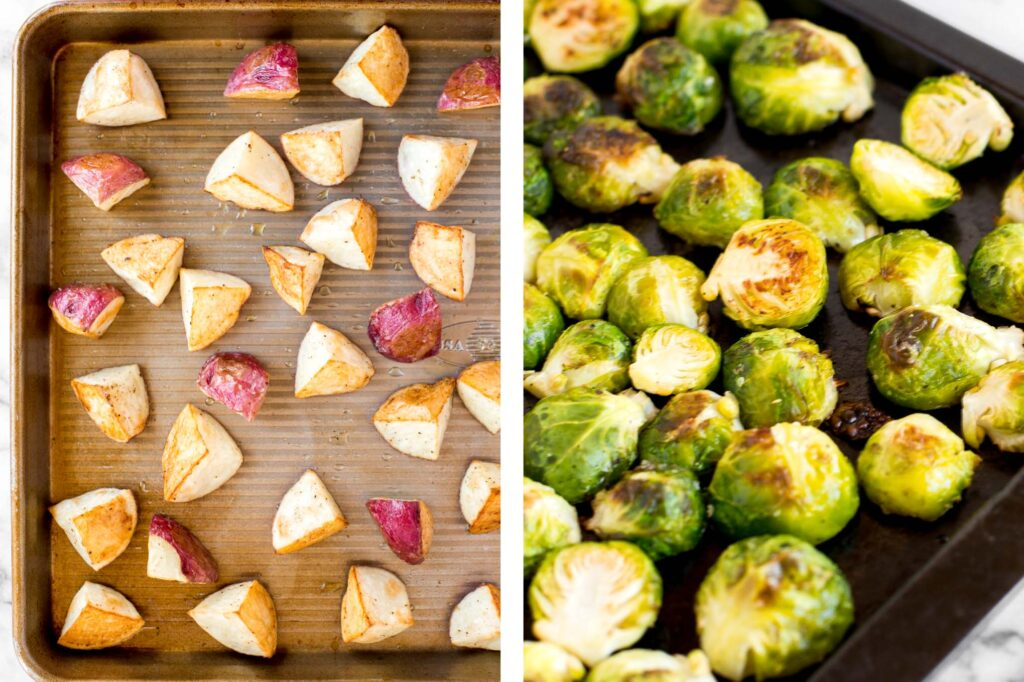 Roasted brussels sprouts salad with creamy potatoes, crispy string beans, tender brussels sprouts, is tossed in a delicious homemade dijon vinaigrette. | aheadofthyme.com
