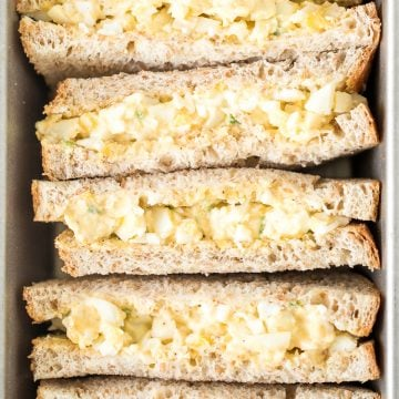 The best egg salad sandwich is a quick and easy picnic classic loaded with perfect hard-boiled eggs, mayonnaise, a touch of dijon mustard and green onions. | aheadofthyme.com