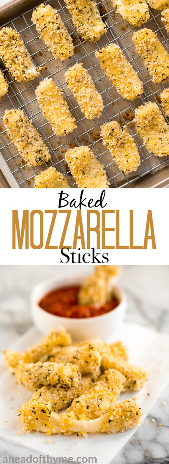 Crunchy, cheesy, and paired with an awesome dipping sauce, these baked mozzarella sticks are just as amazing as what you would find in a restaurant! | aheadofthyme.com