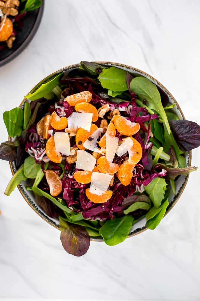 Mandarin orange salad is fresh, vibrant, tangy, and sweet, bursting with flavour, and topped with a delicious orange salad dressing.   aheadofthyme.com