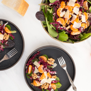 This radicchio and mandarin orange salad with walnuts and currants is more than just contrasting colours and looks! It is bursting with incredible flavours in every bite. | aheadofthyme.com