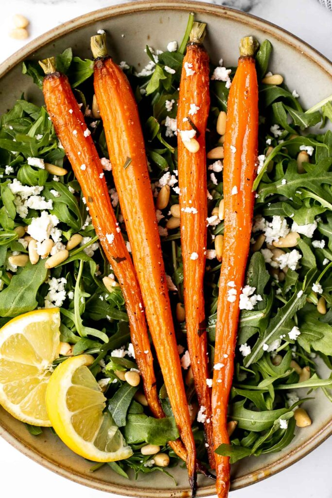 Arugula and roasted carrot salad is one of the best spring salads, packed with a delicious combination of sweet and sour flavours, plus easy to make. | aheadofthyme.com