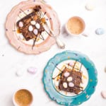 These homemade easter egg caramel brownies rich, fudgy, chocolatey and full of classic mini chocolate eggs and taken to a whole new level with caramel! | aheadofthyme.com