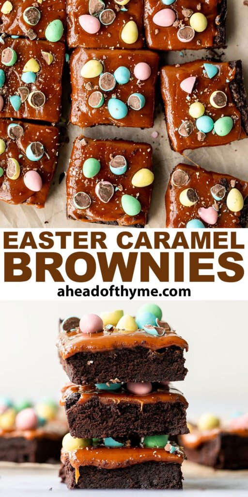 Rich, fudgy, and decadent, Easter egg caramel brownies are topped with an easy-to-make caramel sauce and topped with mini chocolate eggs. | aheadofthyme.com