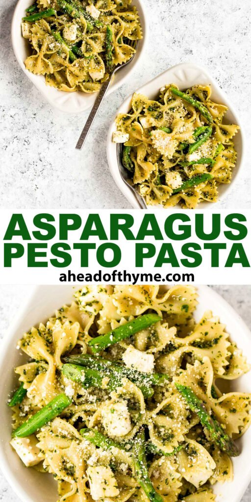 Spring pesto pasta with asparagus and chives is light and made with simple ingredients in under 20 minutes. Serve it hot for dinner or cold as pasta salad. | aheadofthyme.com