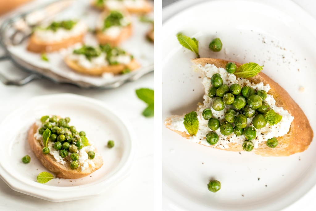 Get ready for spring with this impressive and delicious spring appetizer -- crostini with creamy ricotta, fresh English peas and fragrant mint. | aheadofthyme.com