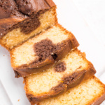Delicious, moist and fluffy vanilla and chocolate marble cake is the perfect recipe to bake when you have friends over for coffee or tea… or if you are just craving a delicious treat! | aheadofthyme.com