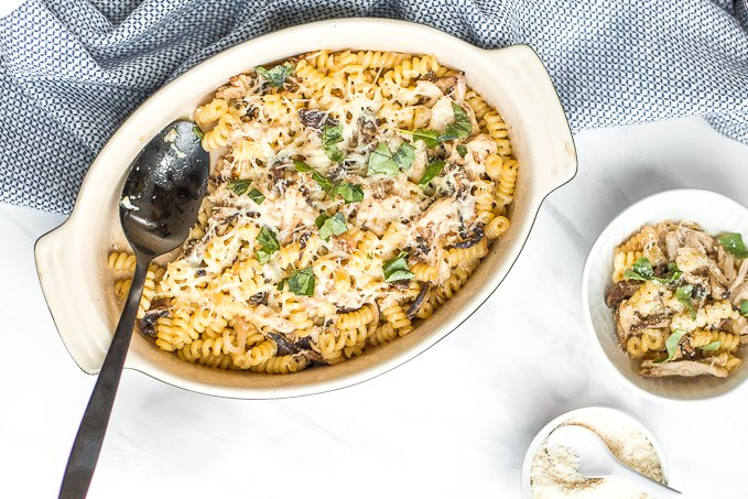 Need a pasta dish with layers of flavour in under 30 minutes? Look no further! Baked pasta with rotisserie chicken, earthy and warm shiitake mushrooms, and nutty asiago cheese is the perfect weeknight (or fancy dinner party) meal! | aheadofthyme.com