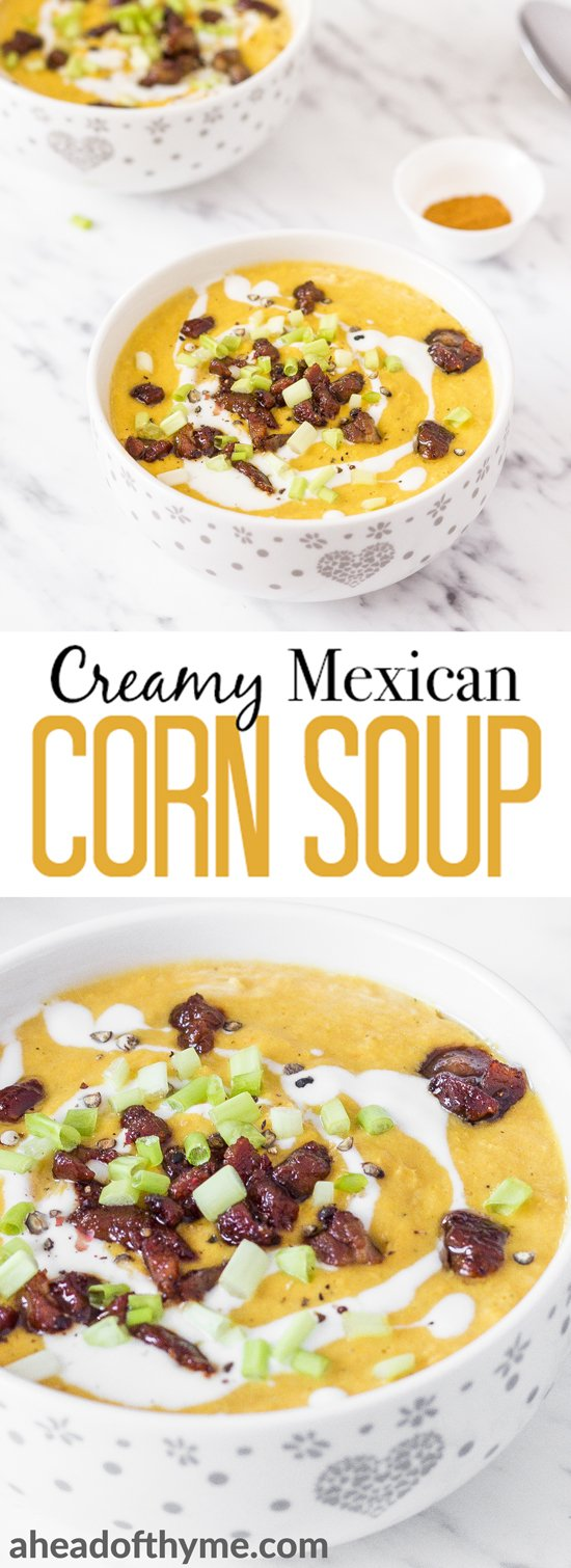 This hearty and filling creamy Mexican corn soup with crispy bacon bits and chives is the perfect recipe to satisfy my Cinco de Mayo craving. It's dense, bright, and full of flavour! | AHEADOFTHYME.COM