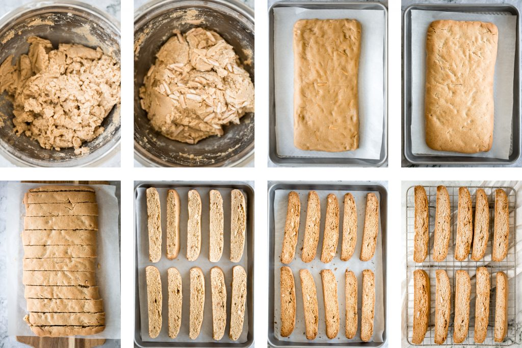 Small batch almond biscotti are crunchy, crumbly and packed with almonds, perfect for dunking into tea or coffee, and they are super easy to make. | aheadofthyme.com