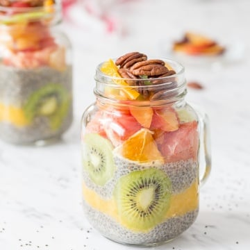 I am jumping in on the chia seed craze with this delicious, gluten-free and vegan fruit layered chia seed pudding! It's the perfect healthy breakfast or dessert, and is full of protein, fiber and antioxidants, so you won't feel guilty having seconds! | AHEADOFTHYME.COM