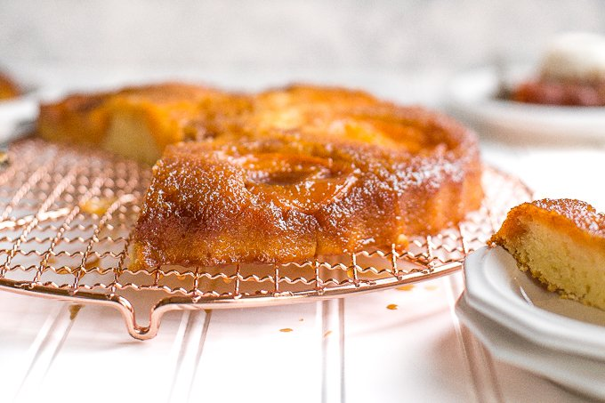 Apricots are finally here and it's time to rejoice with a sweet, juicy, upside-down caramel apricot tart laced with flakey sea salt — it's heaven! | aheadofthyme.com