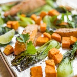 Sheet Pan Miso Salmon with Bok Choy and Sweet Potatoes