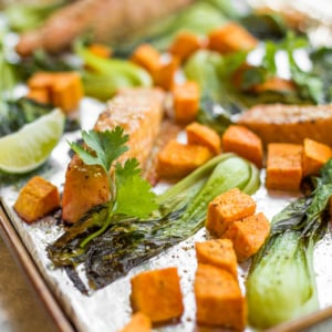 Sheet pan miso salmon with bok choy and sweet potatoes equals unbelievable bursts of umami flavour in every single bite. Plus it's on the table in 30 minutes AND is super easy to clean up! | aheadofthyme.com
