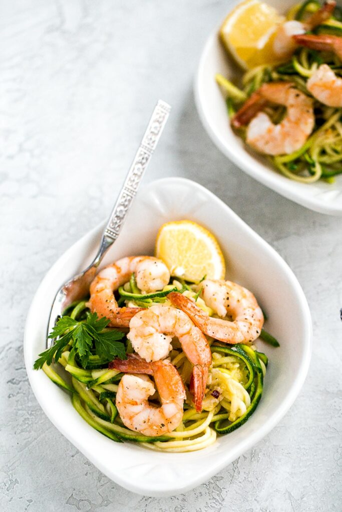 Shrimp scampi with zucchini noodles is a low-carb, keto, and gluten-free version of a classic pasta dish. It is healthy, garlicky, flavorful, and delicious. | aheadofthyme.com