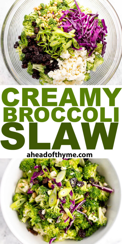 Creamy broccoli slaw salad is healthy, delicious, and flavourful. It's packed with crunchy vegetables, salty feta, sweet raisins, and a creamy dressing. | aheadofthyme.com