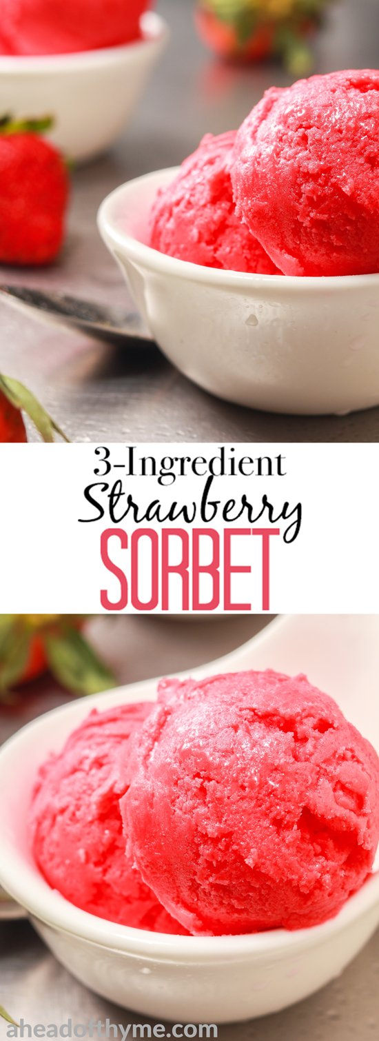 No sorbet is easier or tastier than 3-ingredient strawberry sorbet made with vibrant, sweet and utterly succulent strawberries. This treat is low on calories and full of nutrients, vitamins and minerals, so snack away on this all-natural treat... without the guilt! | aheadofthyme.com