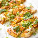 Forget delivery, make sweet, tangy and smoky BBQ chicken pizza from the comfort of your own home in under 30-minutes! Tasty, weeknight dinners have never been easier! | aheadofthyme.com