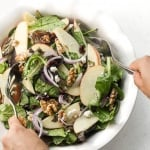 Have an apple today and keep the doctor away with this fresh, fall favourite -- apple walnut salad with homemade balsamic vinaigrette. Throw together crisp apples, crunchy walnuts, and sweet cranberries for a taste of the holidays. | aheadofthyme.com