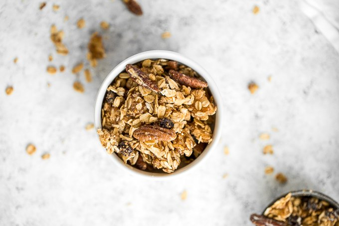 Make your mornings a little easier by prepping this delicious and easy cinnamon apple granola aka apple pie granola ahead of time and I promise you'll never buy store-bought again! | aheadofthyme.com