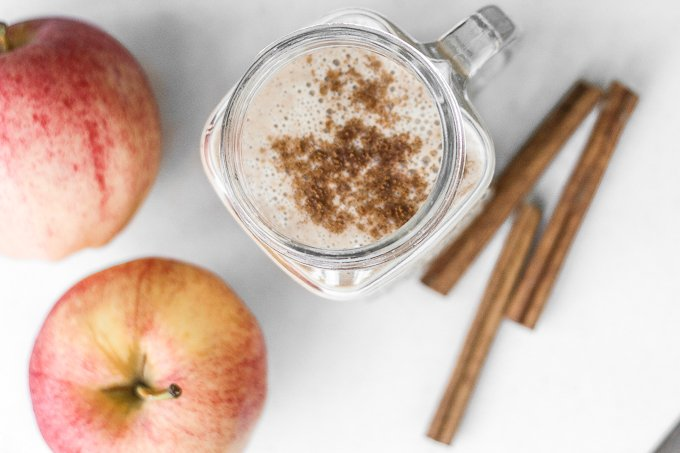 "The best way to get your ""apple-a-day"" daily is in a healthy apple pie fall smoothie! Ready in 5 minutes, it's got the taste of an apple pie, without all the calories. 