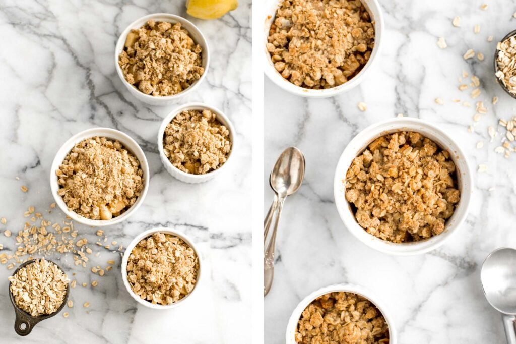 Individual apple crisp is a sweet tart fall dessert served in single-sized portions with all the crunchy corners of crumble. And so quick and easy to prep.| aheadofthyme.com