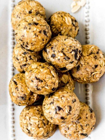 No bake protein-packed breakfast energy bites are chewy, easy to make, delicious, and loaded with healthy nutrients. Perfect for breakfast or as a snack.   aheadofthyme.com