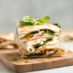 Quick and easy butternut squash quesadillas with chicken and kale is the best fall weeknight meal. It's flavourful, so cheesy, and has the perfect crunch. | aheadofthyme.com