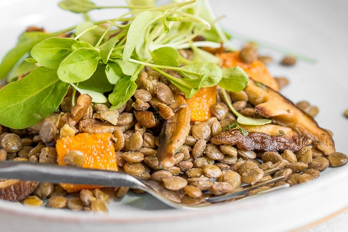This warm lentil salad with butternut squash and shiitake mushrooms is the most comforting vegetarian main! Completely satisfying on its own or served with roasted chicken or salmon. | aheadofthyme.com