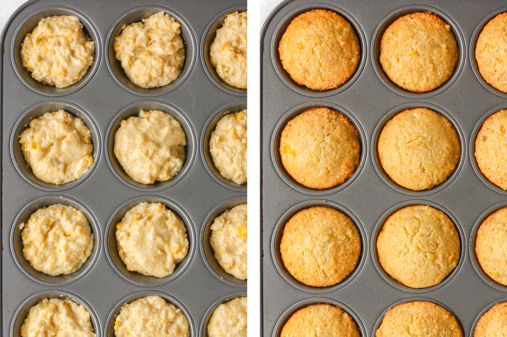 Easy cornbread muffins just made cooking a whole lot easier and tastier! These moist and fluffy muffins are made with cornmeal, cooked corn kernels, and sweetened with honey for a burst of flavor in every bite. | aheadofthyme.com