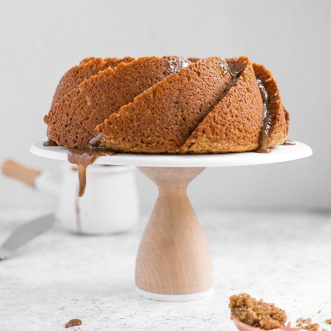 No one will be able to resist this perfectly sweet and moist, glazed brown sugar bundt cake. Made with Greek yogurt for major decadence and richness! | aheadofthyme.com