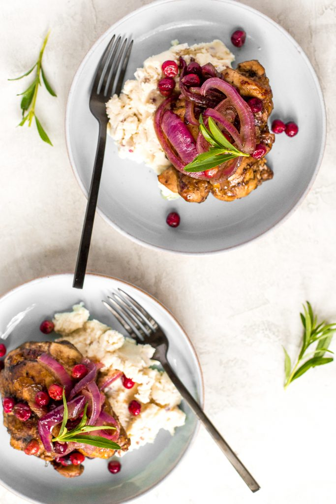 If you're scrambling to figure out dinner with less than 30 minutes on hand, this sweet and tangy roasted balsamic chicken with cranberries will save the day! | aheadofthyme.com