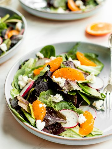 Healthy and light, goat cheese and tangelo winter salad with creamy caesar dressing is flavourful, crunchy and takes just minutes to prepare.   aheadofthyme.com